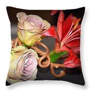 Purple Roses And Red Lily Throw Pillow