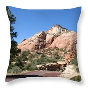 Red Road Zion Park Throw Pillow