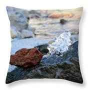 Red Rock And Crystal Water Throw Pillow
