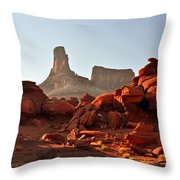 Red Rock And Spire Throw Pillow by Marty Koch