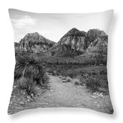Red Rock Canyon Trailhead Black And White Throw Pillow