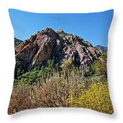 Red Rock Canyon With Foliage Throw Pillow