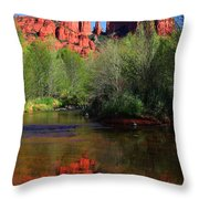 Red Rock Crossing Reflections Throw Pillow