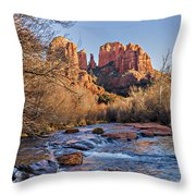 Red Rock Crossing Winter Throw Pillow