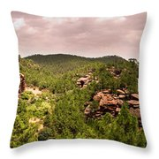 Red Rock Green Forest No2 Throw Pillow