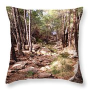Red Rock Pine Forest Throw Pillow