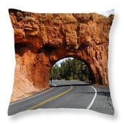 Red Rock Tunnel Throw Pillow