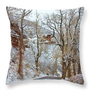 Red Rock Winter Road Portrait Throw Pillow