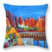 Red Rocks And Railroad Trestle Throw Pillow