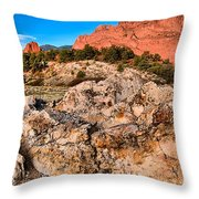 Red Rocks Over White Throw Pillow