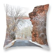 Red Rocks Winter Landscape Drive Throw Pillow by James BO  Insogna