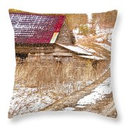 Red Roof In The Snow  Throw Pillow