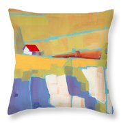Red Roof Landscape Throw Pillow