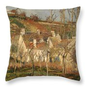 Red Roofs In A Village In Winter Throw Pillow