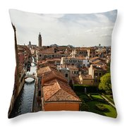 Red Roofs Of Europe - Venetian Canal Palaces Gardens And Courtyards Throw Pillow
