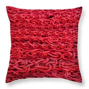 Red Rope Stack Throw Pillow