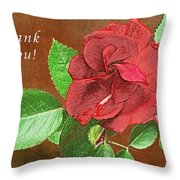 Red Rose Autumn Texture Thank-you  Throw Pillow