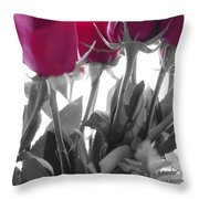 Red Rose Color Block Throw Pillow