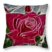 Red Rose Expressive Brushstrokes Throw Pillow