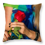 Red Rose - Featured 3 Throw Pillow