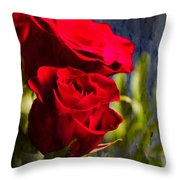 Red Rose Floral Throw Pillow