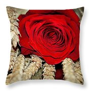 Red Rose On A Bed Of Wheat Throw Pillow