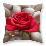 Red Rose On River Rocks 2 Throw Pillow
