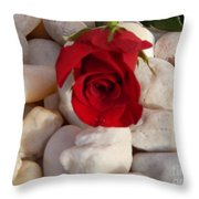 Red Rose On River Rocks Throw Pillow