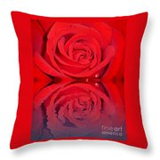 Red Rose Reflects Throw Pillow