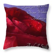Red Rose Romantic Greeting Card Throw Pillow