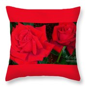 Red Rose Twins  Throw Pillow
