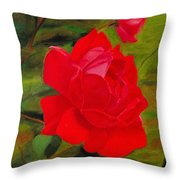 Red Rose With Bud Throw Pillow