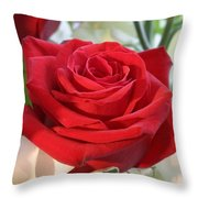 Red Rose With Garden Background  Throw Pillow