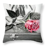 Red Rosebud Throw Pillow