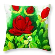 Red Roses From The Garden Impression Throw Pillow