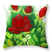 Red Roses From The Garden Throw Pillow
