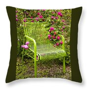 Red Roses Green Chair Throw Pillow by Lena Auxier