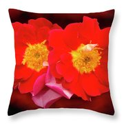 Red Roses Heart Throw Pillow