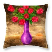 Red Roses In A Purple Vase Throw Pillow