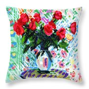 Red Roses In Water Throw Pillow