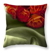 Red Roses On Green Silk Throw Pillow
