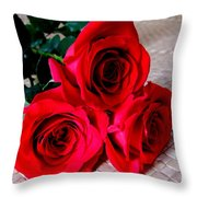Red Roses On Lauhala Throw Pillow