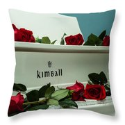 Red Roses On The Grand Piano Throw Pillow