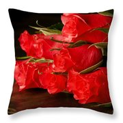 Red Roses On Wood Floor Throw Pillow