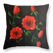 Red Roses Weeping Throw Pillow