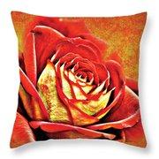 Red Rosey Throw Pillow