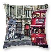 Red Routemaster Throw Pillow