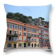 Red Row Houses In Nice Throw Pillow