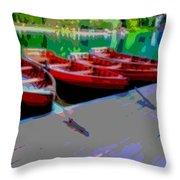 Red Rowboats Dock Lake Enhanced Iv Throw Pillow