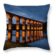 Red Royal Border Bridge Throw Pillow